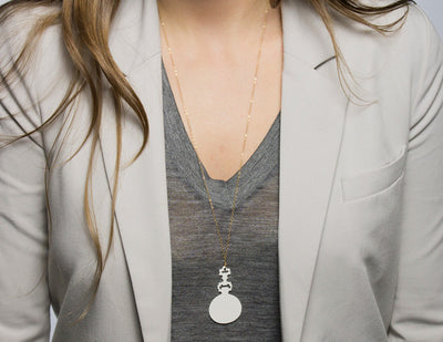 Pocket Watch Necklace on model