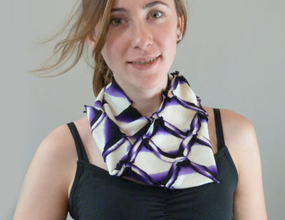 Enso Wool Scarf purple on model