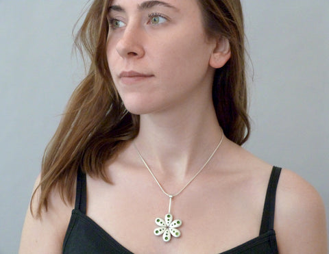 Roboflower necklace on model