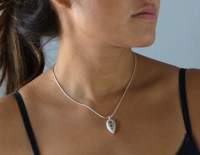 Roboleaf Necklace with Pink Sapphire on model