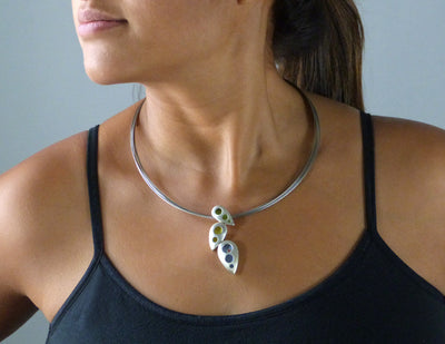 Roboleaves Necklace with Orange Sapphire on model