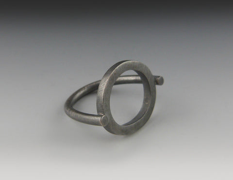 Square Stock Oxidized Circle Ring top view