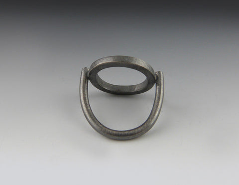 Square Stock Oxidized Circle Ring lower view