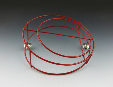 Red Structural Circle Brooch side view
