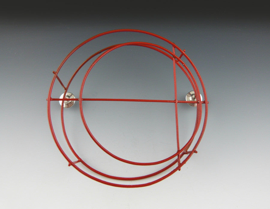 Red Structural Circle Brooch