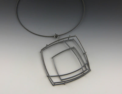 Large Structural Square Necklace alternate view