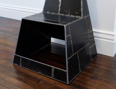 Shoebox Chair, black, in gallery opposite side view