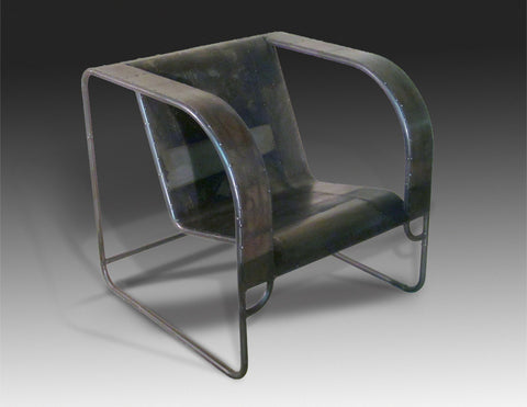 Toob Club Chair, patina'd steel