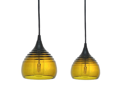 Lucent Ribbed Pendants large and small, amber
