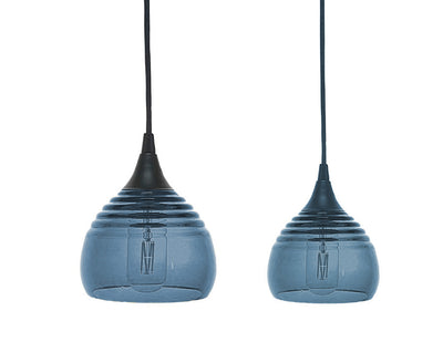 Lucent Ribbed Pendants large and small, steel blue