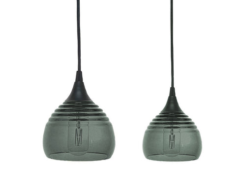 Lucent Ribbed Pendants large and small, gray
