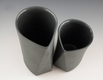 Bevel Cups, charcoal top view