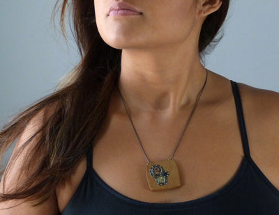 Redwood Pendant on model