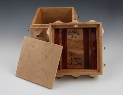 Porcupine Box maple, secret compartment inside lid