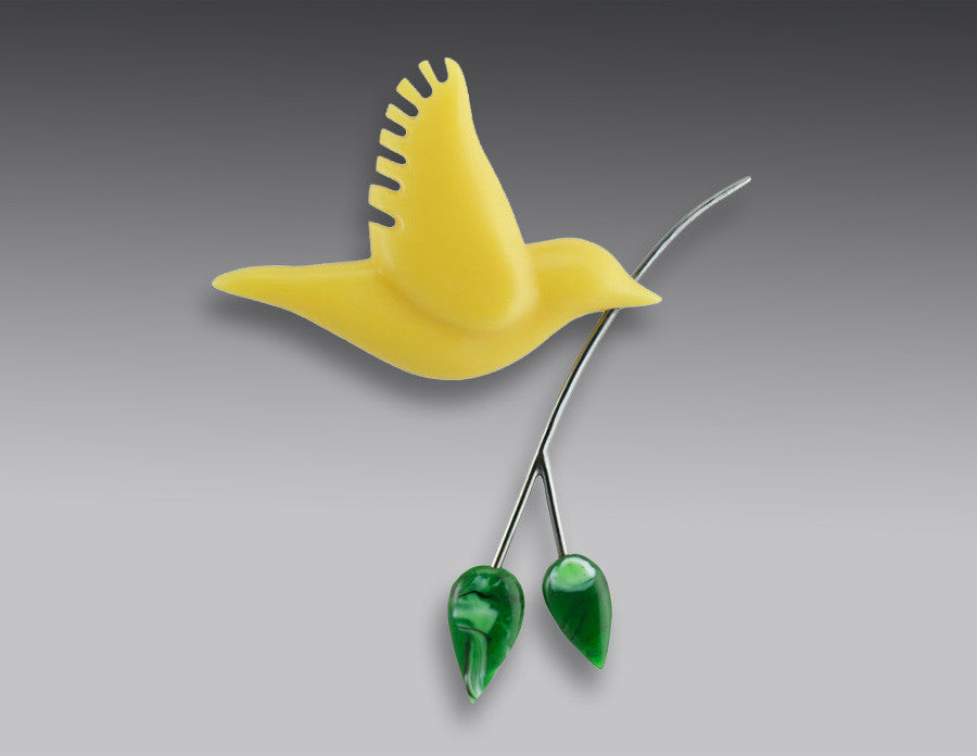Yellow Dove Brooch