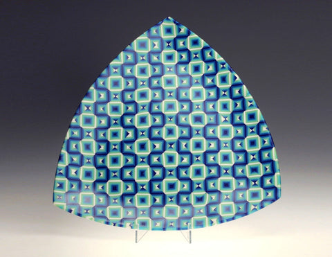 Blue Triangle Platter on stand