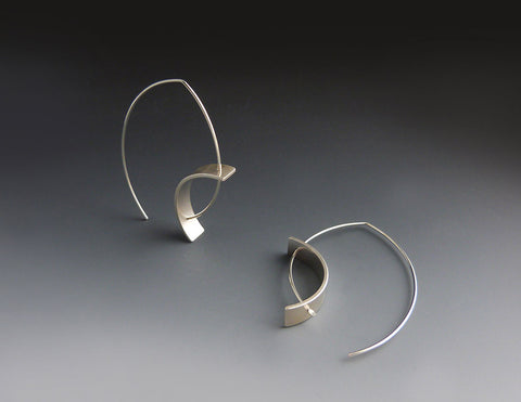 Tension Earrings, bright sterling