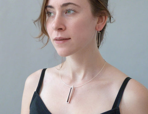 Rectangle Earrings on model