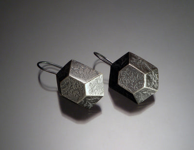 Hex Hook Earrings, oxidized