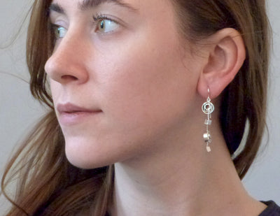 Geometry earrings on model