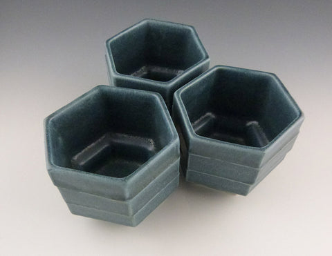 Honeycomb Cups, group in denim