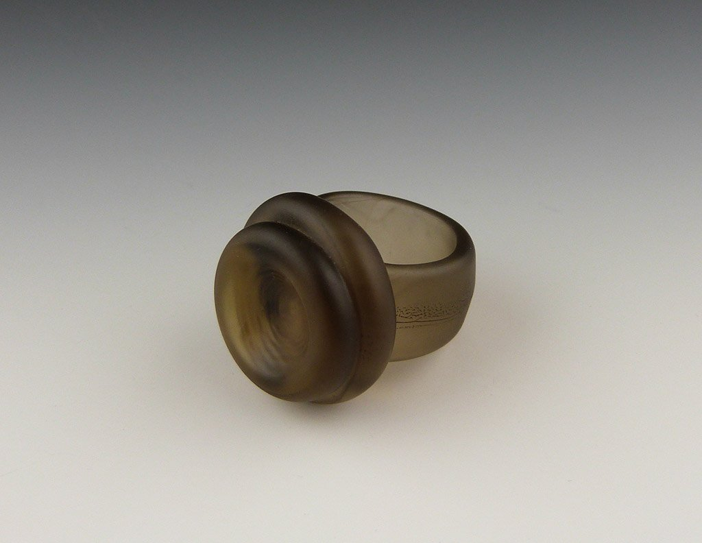 Double Button Ring, etched bronze