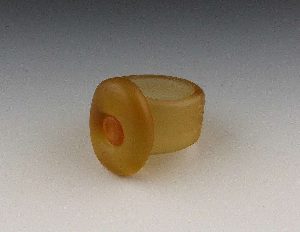 Single Button Ring, etched champagne