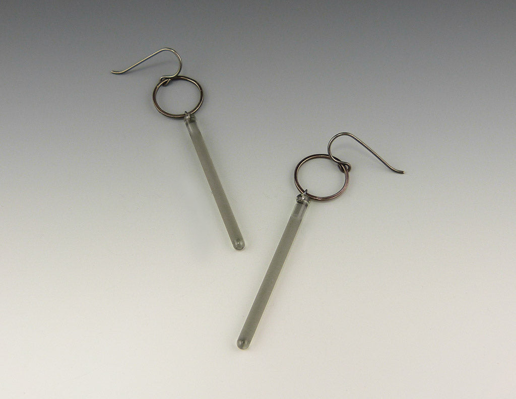 Etched Long Pendulum Earrings, smoke