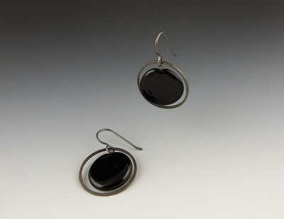 Plato Earrings, black/oxidized