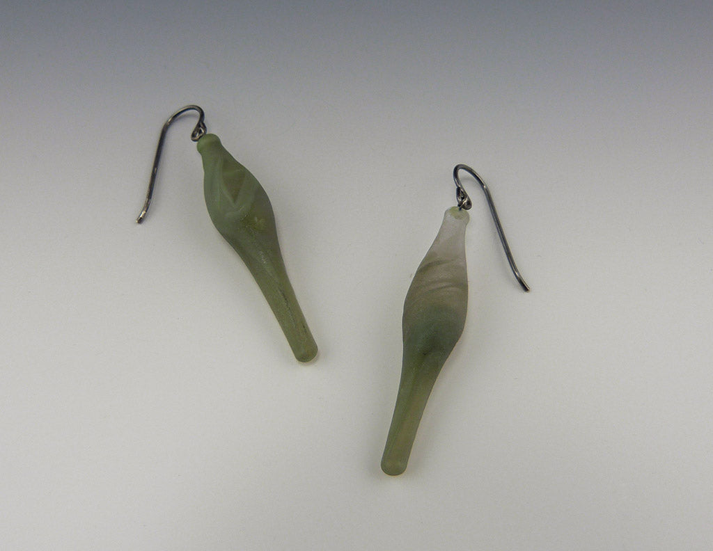 Etched Lava Lamp Earrings, green