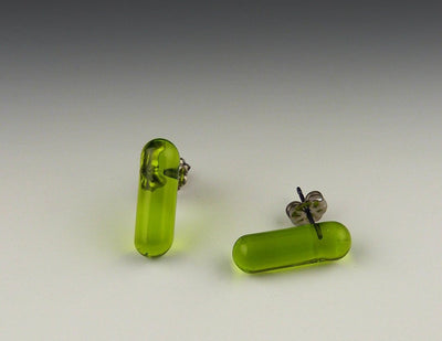 Barre Mini Post Earrings, Lime