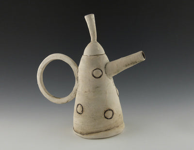 White Tall Teapot side view