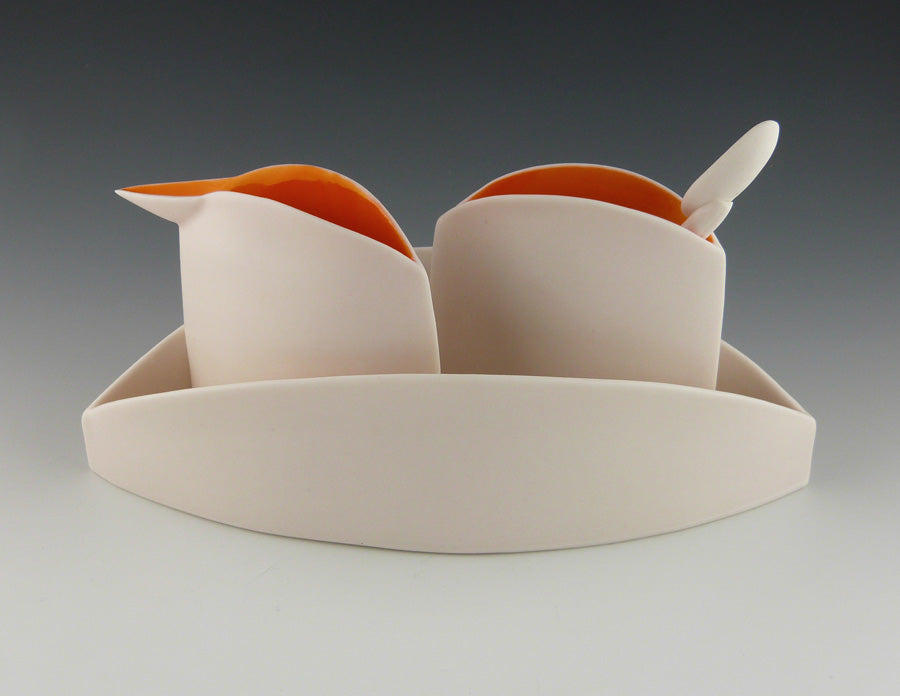 Orange Sugar and Creamer Set