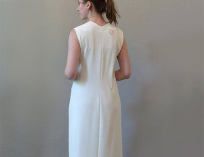 Cream Pebble Dress on model back view