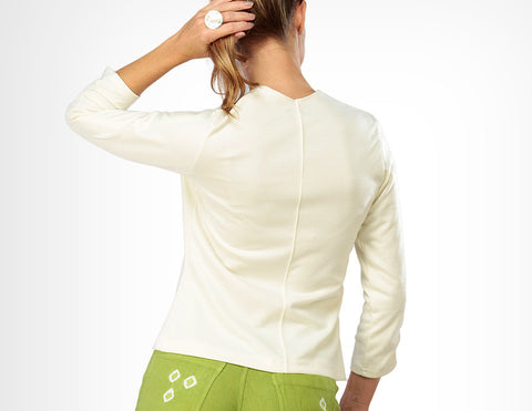 Ruched Sleeved V-Neck back view