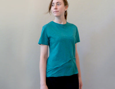 Current T, teal, on model