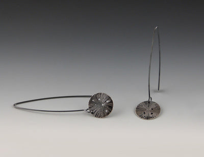 Encoded Earrings, oxidized