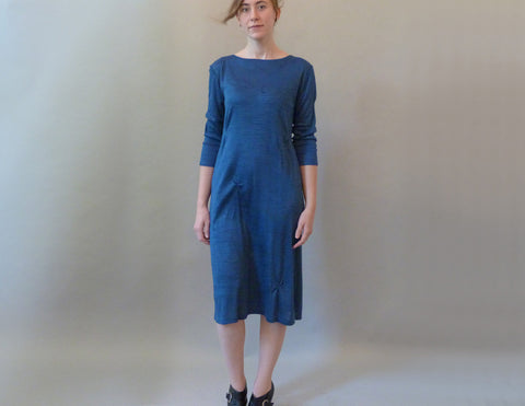 Blue Pinch Dress on model