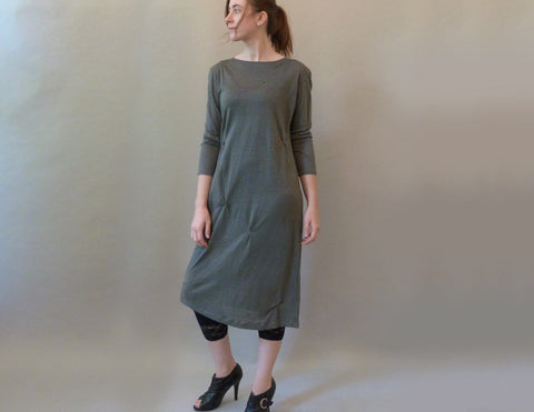 Lichen Linen Pinch Dress on model