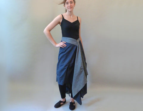 Denin Pinch Skirt on model