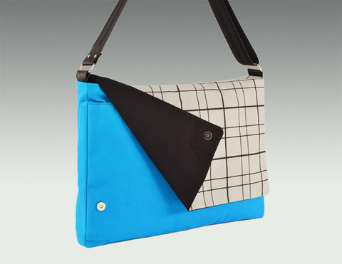Modern Messenger Bag turquoise body, gray accent, black lining