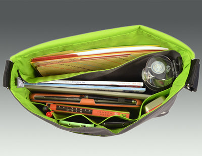 Modern Messenger Bag gray, turquoise, lime--interior view