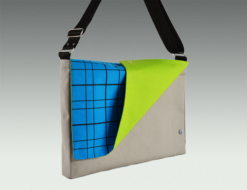 Modern Messenger Bag gray, turquoise accent, lime lining