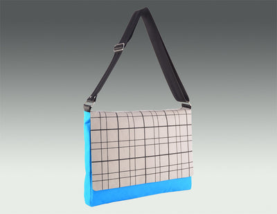 Modern Messenger Bag turquoise body, gray accent