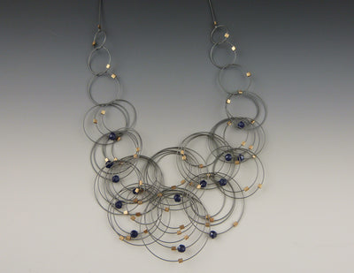 Flow Necklace, Spinel/Gunmetal