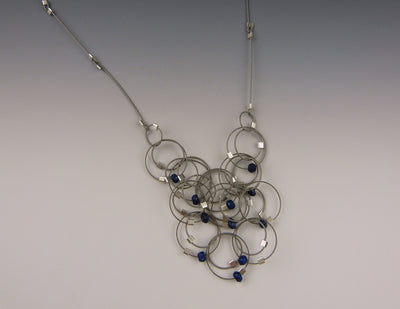 Solar Necklace, Lapis/Steel