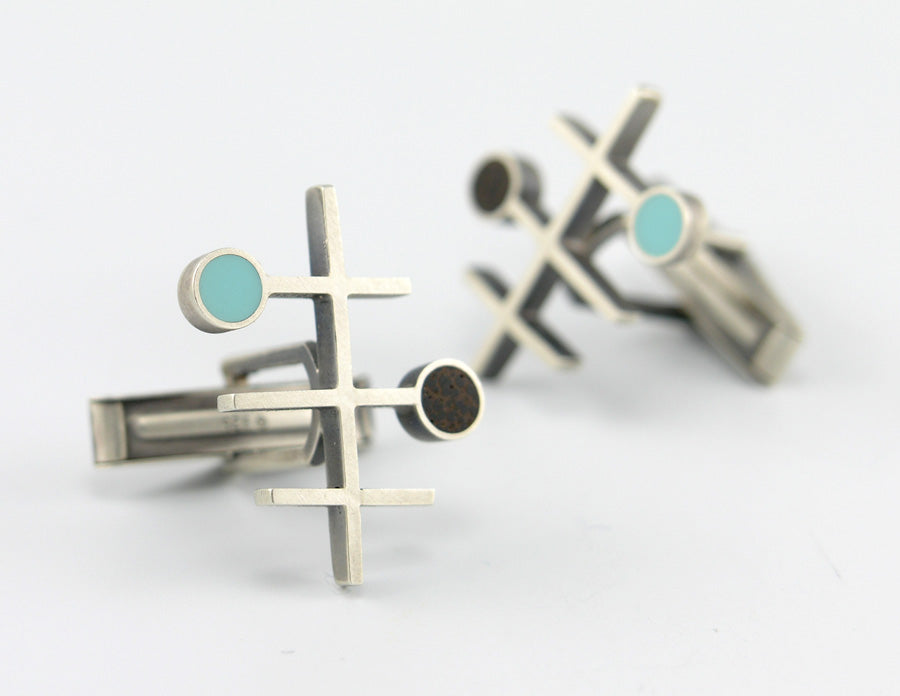 Frequency cufflinks, turquoise