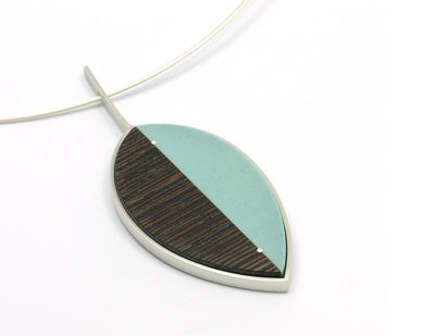 Leaf Pendant Necklace-turquoise