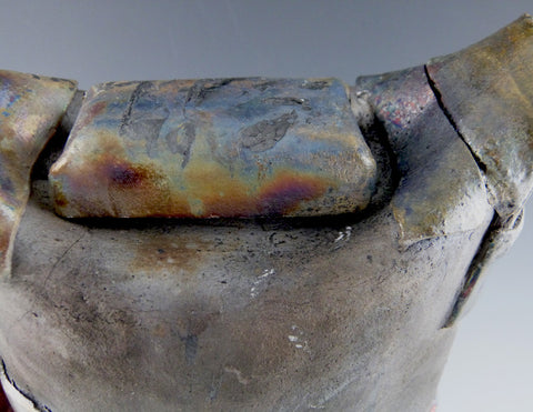 Raku Strapped Tea Kettle--Slim, top detail