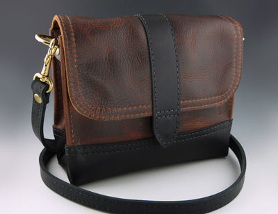Margrethe Crossbody, Brown with black base and strap